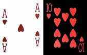 stock photo of combinations  - best classic winning blackjack combination ten and ace of hearts - JPG