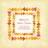 image of announcement  - Vector square frame of watercolor triangles on vintage background - JPG