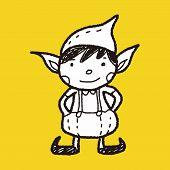 stock photo of elf  - Christmas Elf Doodle - JPG