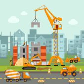 pic of construction machine  - Building work process with houses and construction machines flat vector illustration - JPG