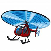 stock photo of rescue helicopter  - illustration of the red modern helicopter flying - JPG