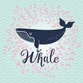 Cute whale card. Lovely whale on stylish blue colored background with floral wreath in vector. Lovel poster