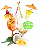 stock photo of pina-colada  - Vector illustration Beach tropical cocktails bahama mama and pina colada with garnish colorful poster - JPG