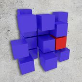 foto of cube  - 3d rendering of a background with some blue cubes and one red cube - JPG