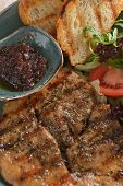 picture of plum tomato  - schnitzel tomatoes salad mix plum jam and toasted bread - JPG