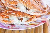 pic of crab  - crab seafood in thailand and bamboo table background - JPG