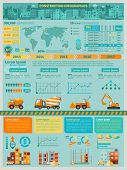 foto of construction machine  - Construction infographics set with building machines symbols and charts vector illustration - JPG