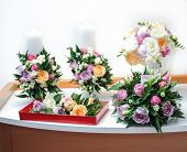 picture of bouquet  - Beautiful bouquets of rose flowers, on table. Wedding bouquets of different colors roses. Elegant wedding bouquets on table at restaurant ** Note: Shallow depth of field - JPG