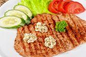 foto of pork chop  - Pork chop with vegetable at plate - JPG