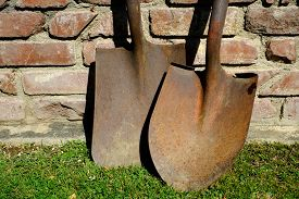 picture of spade  - A spade and shovel are a rusty pair of hand digging implements - JPG