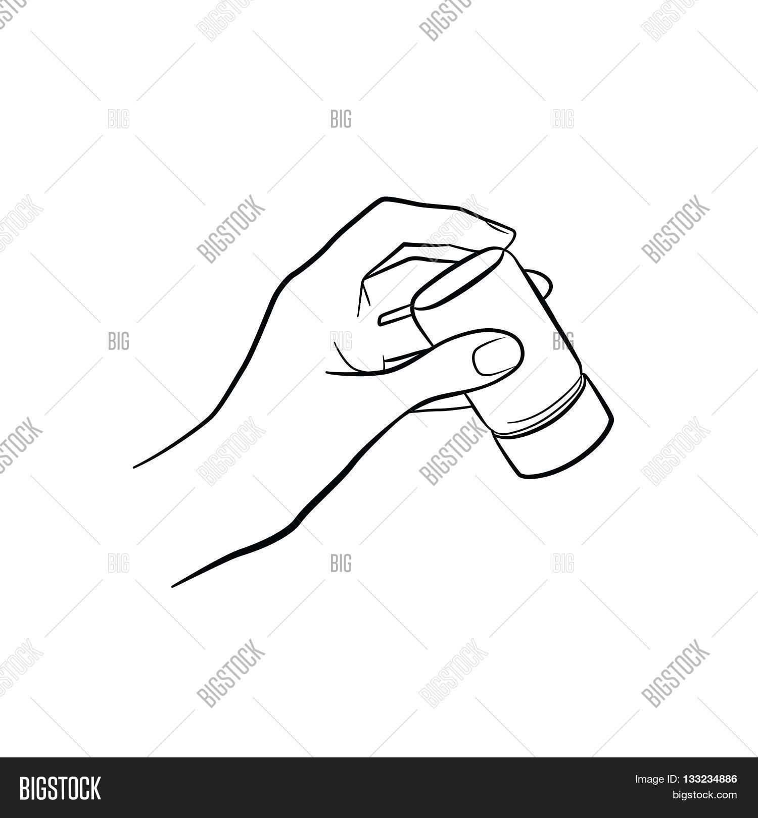 Kitchen Tools Drawings Woman Hand Holding Saltkitchen Toolsoutline Cooking Gesture