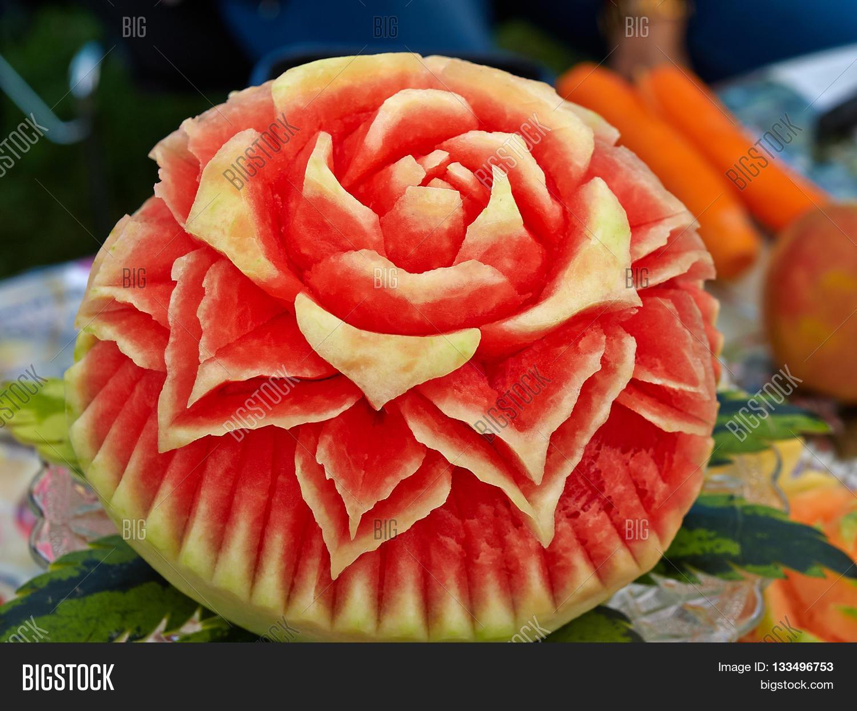 Fruit carving food sculpture art image photo bigstock