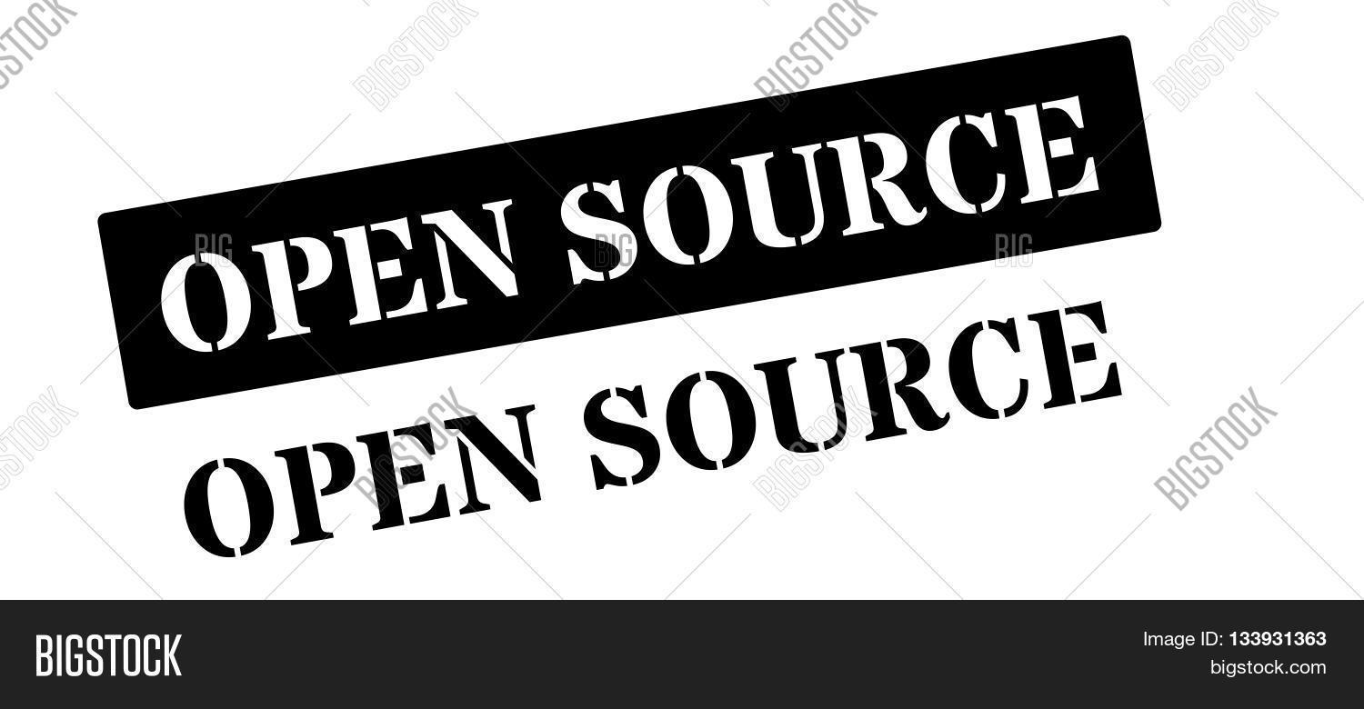 Open Source Black Rubber Stamp On White Stock Vector