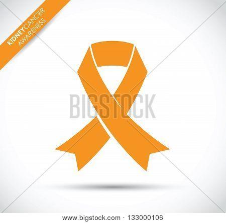 an orange kidney cancer awareness ribbon icon