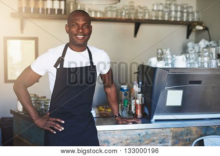 Single handsome young confident male coffee house owner with white shirt and black apron at counter with hand on hip