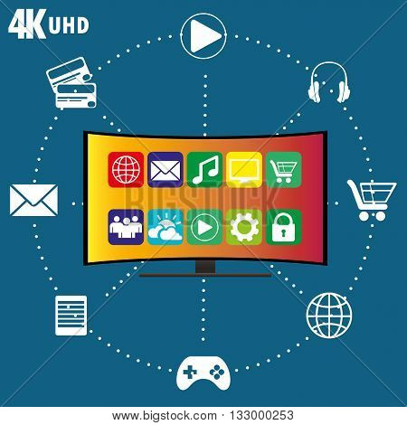 4K TV with icons of different applications flat vector illustration