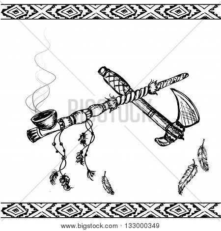 Vector illustration of a traditional Native American Peace Pipe and tomahawk black and white