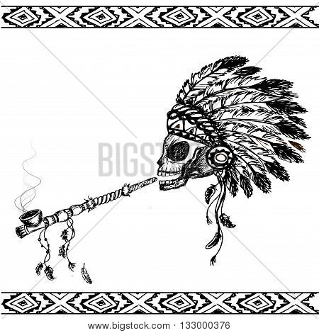 North American Indian skull with peace pipe hand drawn vector