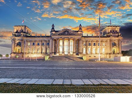 Berlin Reichstag at a sunset in Germany