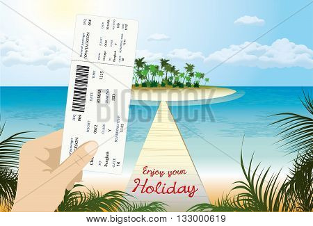 blank airline boarding pass in hand. Thailand beach view in the background . Vector.
