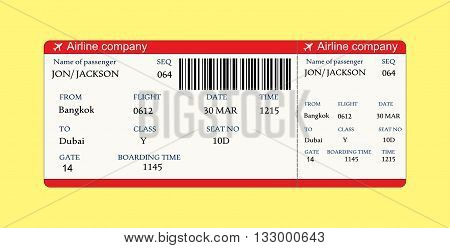 Airline boarding pass ticket with QR2 code.Vector illustration on yellow background