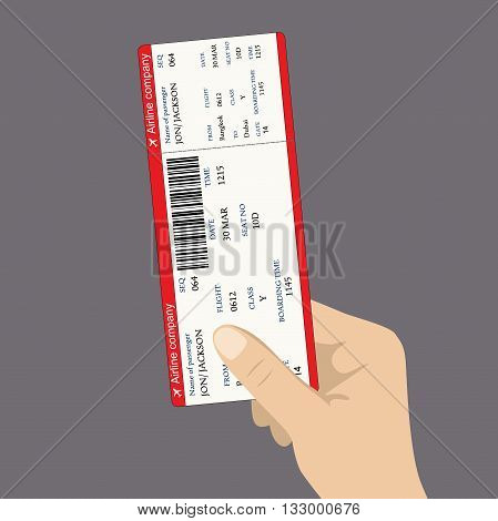 boarding pass ticket with QR2 code in hand. flat design vector illustration.