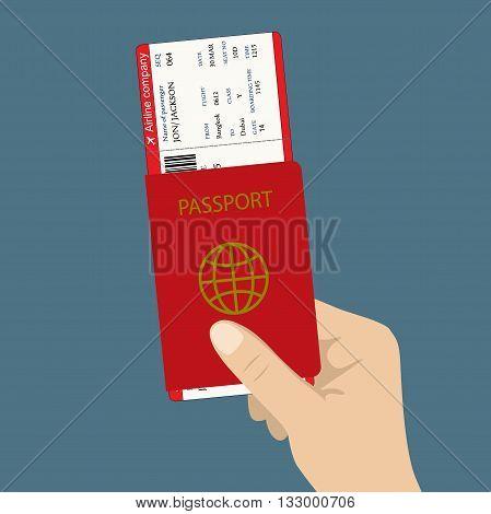 boarding pass ticket and passport in hand. flat design vector illustration.