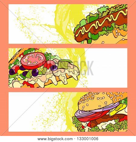 Fast food. Burger, hot dog and pizza slice. Isolated vector object on white background. Three cute banners. Hand-drawn illustration.