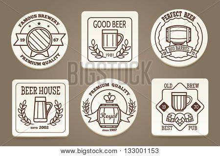 Beer coaster or drink coaster. Beverage coasters with beer emblems vector illustration