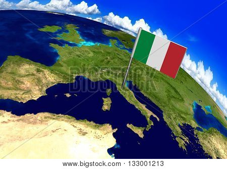 Flag marker over country of Italy on world map 3D rendering, parts of this image furnished by NASA