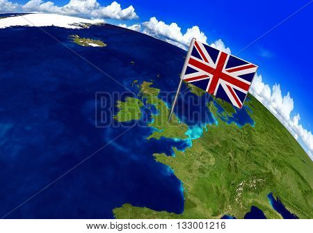 Flag marker over country of United Kingdom on world map 3D rendering, parts of this image furnished by NASA