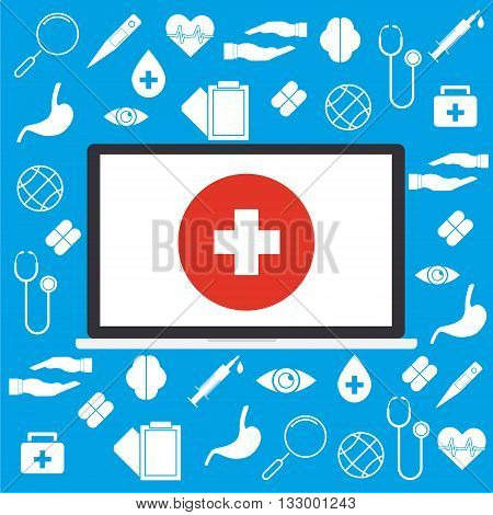 Computer laptop with white cross on red circle and on medical sign background concept of telemedicine and telehealth technology. Vector illustration cloud internet of things technology trend.