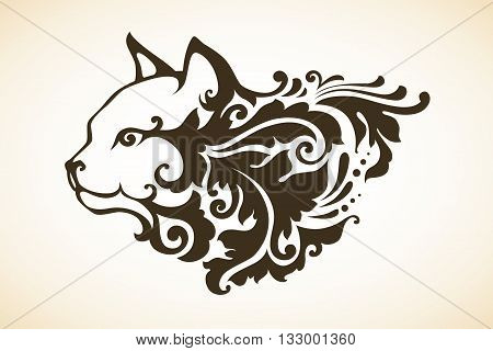 Vector illustration of abstract ornamental decorative cat