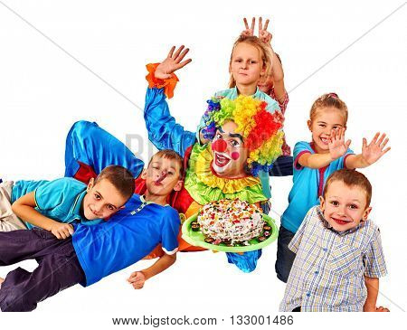 Clown holding cake on birthday with group children. Isolated. Happy birthday with clown for children.