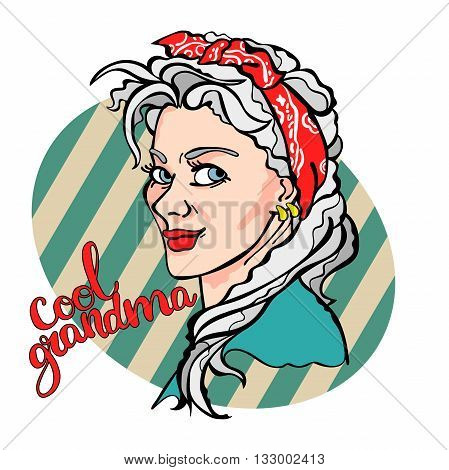 Cool Grandma. Beautiful old woman. Pop Art illustration. Striped background.