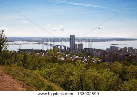 View of Saratov and the bridge through Volga from an observation deck from Victory park