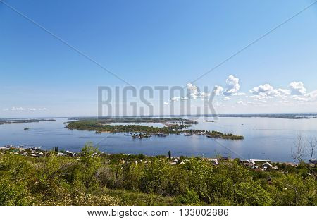 View of Volga River and the island from Sokolov mountain