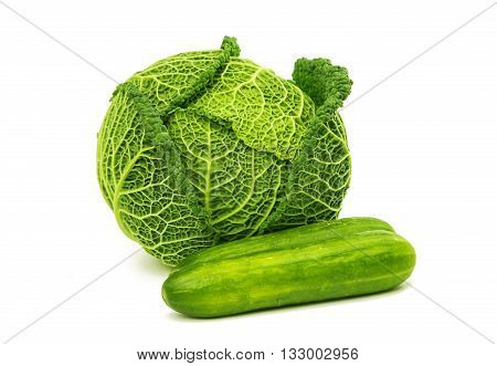 savoy cabbage and cucumber on a white background