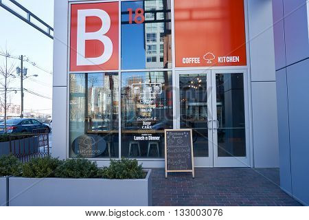 JERSEY CITY, NJ -  MARCH 21, 2016: entryway of Beechwood cafe in Jersey City. Jersey City is the second most populous city in the U.S. state of New Jersey after Newark