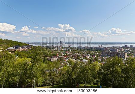 View of the city of Saratov and beautiful sky from the Victory monument