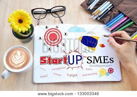 Business desktop and Small and Medium Enterprises Concept.