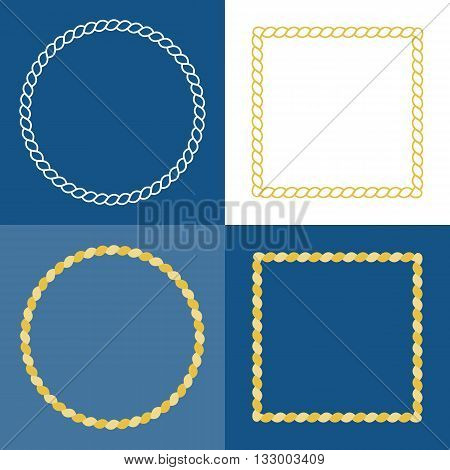 circle rope frame , rope border with navy blue background, nautical frame style concept in flat design and line art