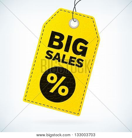 Yellow leather business label big sales. Business vector detailed label with text big sales and percent icon. Big sales vector label. Big sales business label. Leather vector business label.