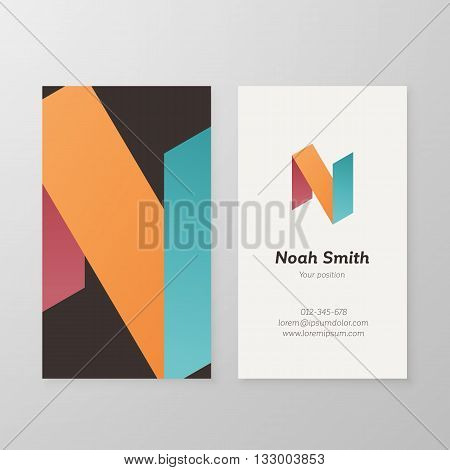 Business card isometric letter N vector template. Vector business card design as sign letter N. Letter N business card template. Business card visual design letter N.