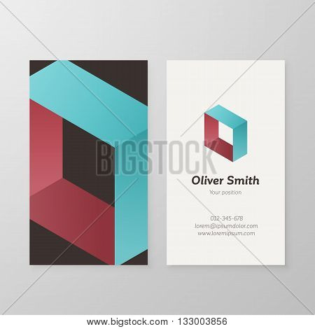 Business card isometric letter O vector template. Vector business card design as sign letter O. Letter O business card template. Business card visual design letter O.