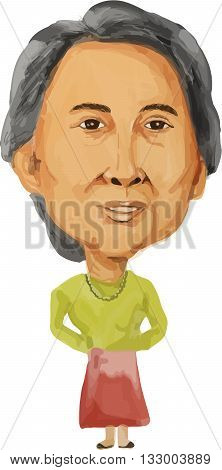 JUN 6, 2016: Water color caricature illustration of the Prime Minister of Republic of the Union of Myanmar Burma Aung San Suu Kyi facing front done in cartoon style.