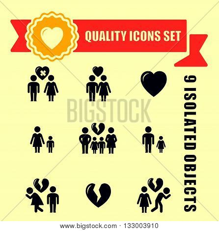 family concept quality icon set with red tape accent