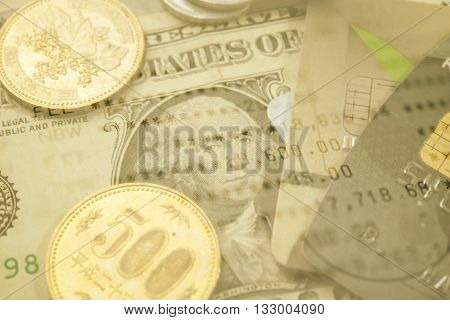 Double-exposure Finance and Banking concept for background.