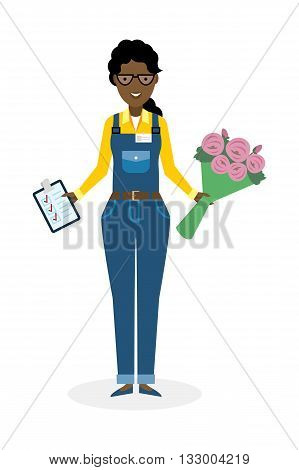 Delivery woman with flowers. Fast transportation. Isolated african american cartoon character on white background. Postwoman, courier with clipboard and bouquet.