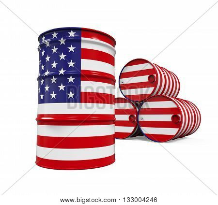 USA Flag Oil Barrel isolated on white background. 3D render